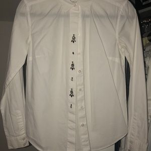 White button up shirt with embellishments